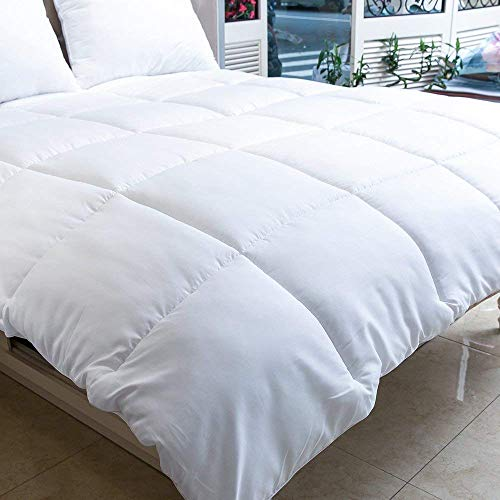 Machine Washable – Quilted Comforter with Corner Tabs – MANZOO Twin Comforter Duvet Insert White – Hypoallergenic, Plush Siliconized Fiberfill, Box Stitched Down Alternative Comforter