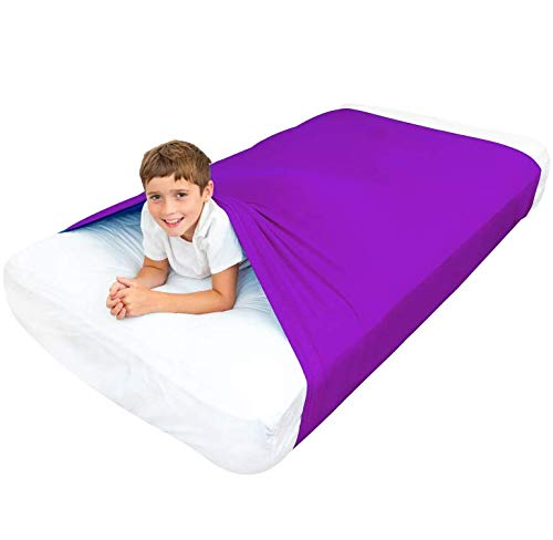 Special Supplies Sensory Bed Sheet for Kids Compression Alternative to Weighted Blankets – Cool, Comfortable Sleeping Bedding Purple, Twin – Breathable, Stretchy