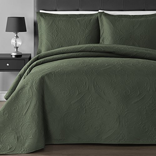 Comfy Bedding Extra Lightweight and Oversized Thermal Pressing Floral 3-Piece Coverlet Set King/Cal King, Sage