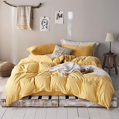 mixinni 3 Pieces Modern Style Duvet Cover Set Solid Color Gold Bedding Cover Set with Zipper Ties for Men and Women 1 Duvet Cover + 2 Pillow Shams,Easy Care,Soft,Durable Gold,Queen/Full Size