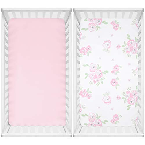 TILLYOU Microfiber Floral Crib Sheets for Girls, Silky Soft Toddler Sheets Printed, Hypoallergenic Breathable Cozy Baby Sheet Set, 28 x 52in, 2 Pack Rose Floral + Pink