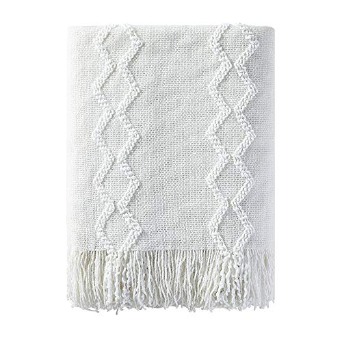 BOURINA Fluffy Chenille Knitted Fringe Throw Blanket Lightweight Soft Cozy for Bed Sofa Chair Throw Blankets, 50″ x 60″,White