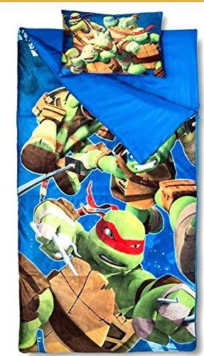 Ninja Turtle Sleeping Bags for Boys Slumber Bag 45 Degrees Fahrenheit and Pillow – 2 Piece Set