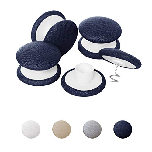 Keeps Comforter from Shifting in Cover – Primpins Duvet Clips – White, Beige, Grey, or Navy – 100% Linen Fabric Buttons – Double Sided Pin Fasteners – Set of 4 Navy
