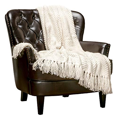 Chanasya Textured Knitted Super Soft Throw Blanket with Tassels Warm Cozy Plush Lightweight Fluffy Woven Blanket for Bed Sofa Chair Couch Cover Living Bed Room Off White Throw Blanket50″x65″- Cream