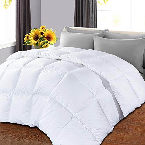 OHAPPES King Comforter Soft Goose Down Alternative Duvet Insert for Winter, 8 Corner Loops, Warm Fluffy All Season Hotel Collection, 90 X 102 Inches, White