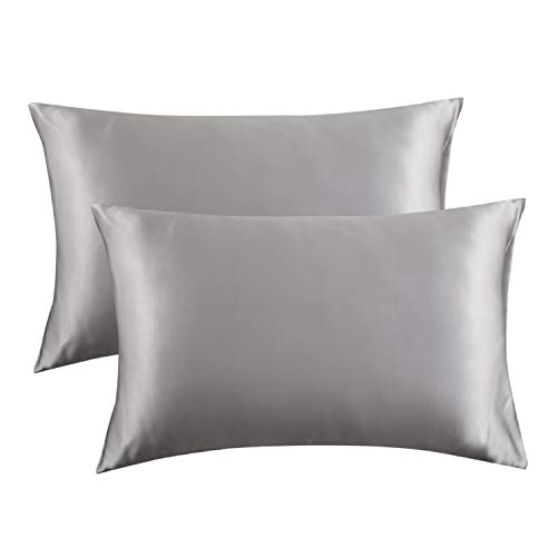 Satin Pillow Covers with Envelope Closure, Silver Grey – Bedsure Satin Pillowcase for Hair and Skin, 2-Pack – Standard Size 20×26 inches Pillow Cases