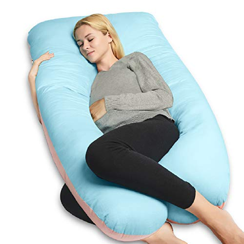 QUEEN ROSE Pregnancy Body Pillow, U-Shaped Maternity Pillow for Pregnant Women with Cooling Cotton Cover,Great for Anyone,Light Multi