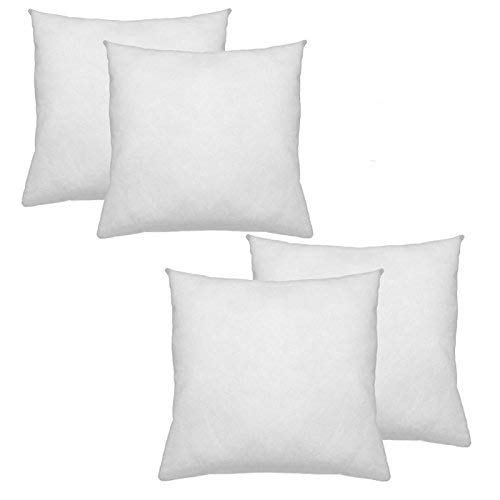 IZO All Supply Premium Hypoallergenic Polyester Decorative Pillows High Loft Throw Pillows Set of 4 18×18 Pillow Inserts – Great Couch Pillows, Bed Pillows, Floor Pillows