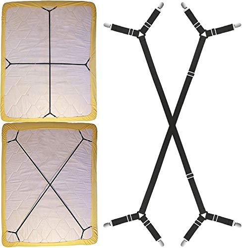 FLSLHS 2pcs/Set Suspenders Crisscross Fitted Band Adjustable Mattress Pad Duvet Cover Bed Sheet Corner Holder Elastic Straps Fasteners Clips Grippers, Black
