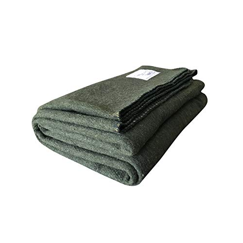 Woolly Mammoth Woolen Company Explorer Collection Wool Blanket Hunter Green