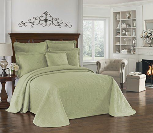 HISTORIC CHARLESTON Bedspreads Coverlet – King Charles Collection 120″ x 114″ Size 100% Cotton Oversized Matelasse Bed Spread, King/Cal King, Sage