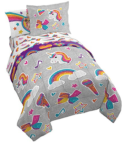 Jay Franco Nickelodeon JoJo Siwa Rainbow Sparkle 5 Piece Twin Bed Set, Grey
