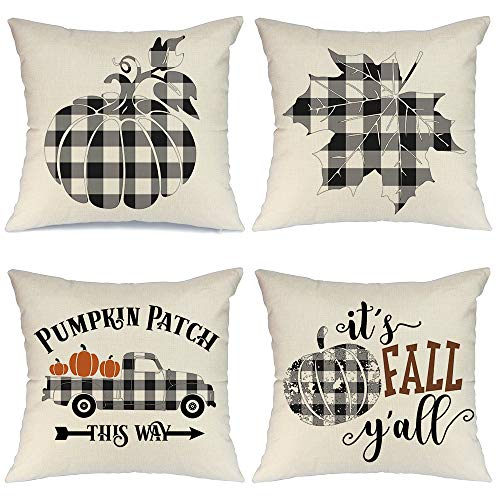 AENEY Fall Pillow Covers 18×18 inch Set of 4 Buffalo Check Plaid Pumpkin Throw Pillows for Fall Thanksgiving Decor Farmhouse Fall Decorations Decorative Pillows
