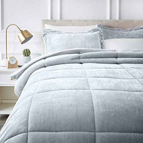 Full or Queen, Grey – AmazonBasics Ultra-Soft Micromink Sherpa Comforter Bed Set