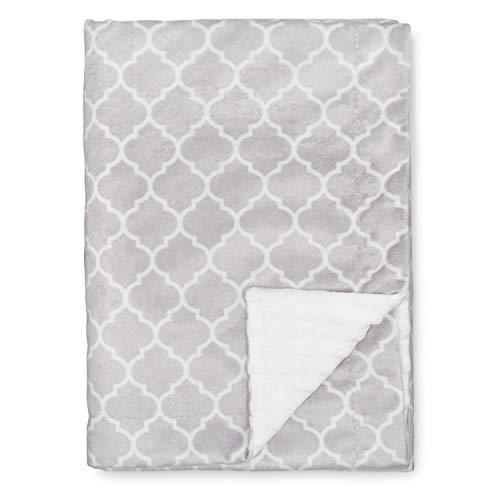 Comfy Cubs Baby Blanket Soft Minky Swaddle Cuddle Reversible Unisex Grey Design Infant New Born Gift Large