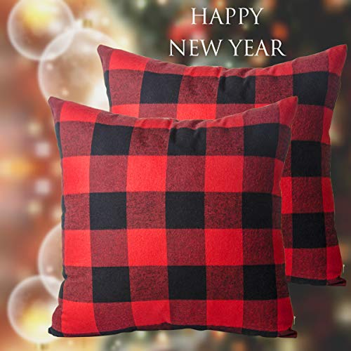 heartybay Throw Pillow Covers Red & Black Buffalo Check Plaid Holiday Christmas Decor Square Cotton Canvas Cushion Case for Sofa Couch Bedroom Car 18 x 18 Inch Set of 2