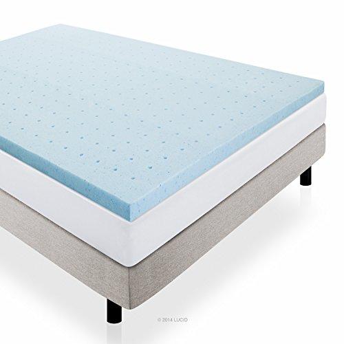 LUCID 2″ Gel Infused Ventilated Memory Foam Mattress Topper, Queen