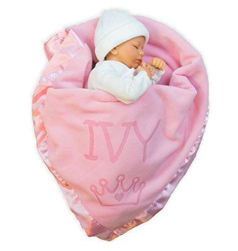 Custom Catch Princess Baby Blanket for Girls – Toddler Girl Crib Bedding, Receiving Blankets Pink, Blue: 1 Text Line
