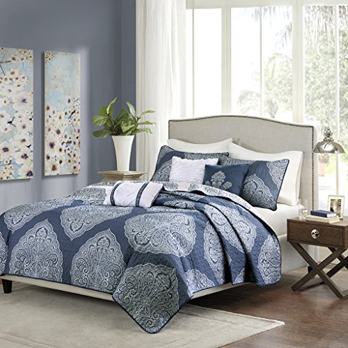 6 Piece Bedding Quilt Coverlets – Ultra Soft Microfiber Bed Quilts Quilted Coverlet – Madison Park Rachel King/Cal King Size Quilt Bedding Set – Navy, Medallion