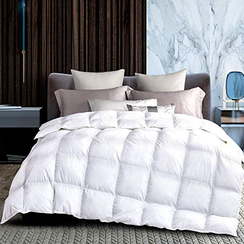 HODOMG All Season White Goose Down Alternative Quilted Comforter and Duvet Insert-with Corner Tabs-Hypoallergenic-Plush Microfiber Fill-Reversible-Machine Washable