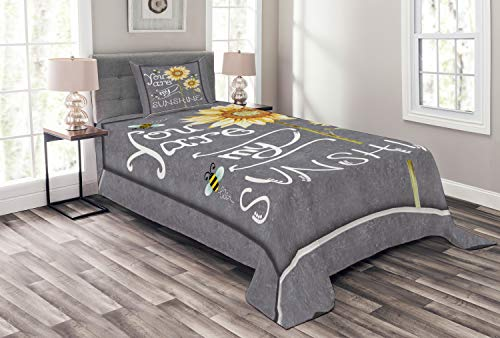 Lunarable You are My Sunshine Bedspread, You are My Sunshine Words on Blackboard Bees Sunflowers Vintage Image, Decorative Quilted 2 Piece Coverlet Set with Pillow Sham, Twin Size, Yellow Grey