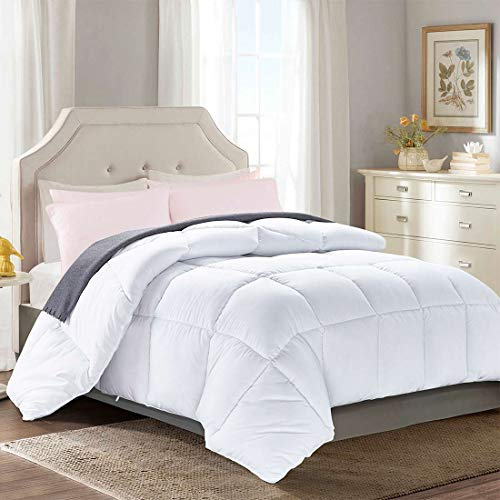 Brermer Soft Twin Goose Down Alternative Comforter, All Seasons Puffy Warm Duvet Insert with 8 Corner Tabs, Luxury Reversible Hotel Collection, 88″x 64″, White