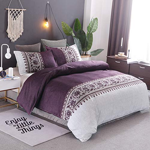 Purple Duvet Cover Queen Modern Reversible Boho Purple/Beige Convallaria Printed Bedding Duvet Coverwith Zipper Closure & 2 Pillow Cases, Lightweight Microfiber Bedding Set 3 Pieces, Queen Size