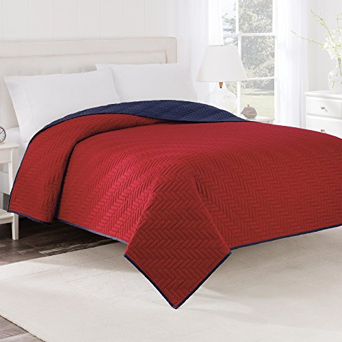 Martex Reversible Coverlet, Twin, Red/Navy