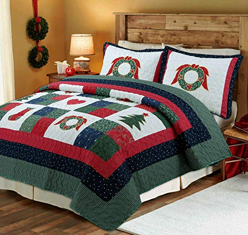 3 Piece – Cozy Line Home Fashions Happy Christmas 3-Piece Cotton Quilt Bedding Set, Coverlet Bedspread Happy Christmas, King