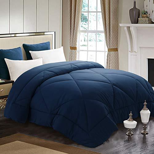 Machine Washable Navy Blue, Queen(88×88inch) – INGALIK All-Season Bed Comforter Best Soft Down Alternative Quilted Comforter with Corner Ties – Winter Warm
