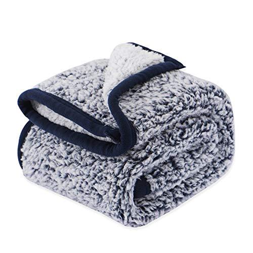 EMME Sherpa Blanket Plush Soft Baby Blanket Warm Cozy Toddler Blanket Kids Sleeping Blanket Throw Blanket Nap Blanket Fuzzy Blanket for Crib, Stroller, Travel, Outdoor, Decorative Navy, 30″x40″