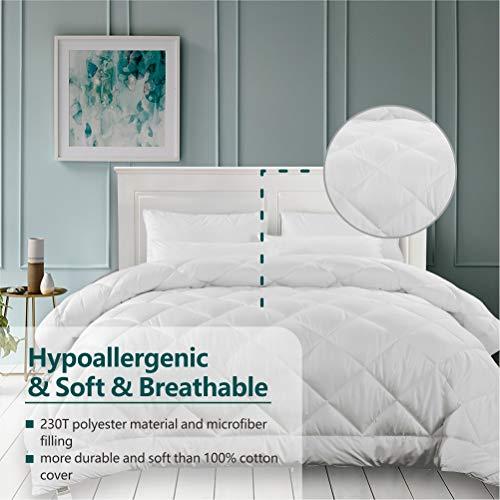 Cozynight White Comforter Queen Size Duvet Insert-Down Alternative Comforter with Corner Tabs-Soft & Hypoallergenic& Breathable & Machine WashableDiamond Stitched Comforter (Queen 88″X92″)