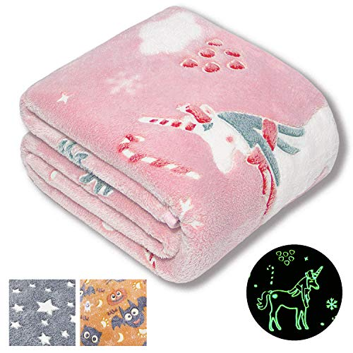Forestar Unicorn Gifts for Girls, Christmas Girls Gifts, Glow in The Dark Pink Unicorn Blanket, Premium Super Soft Fuzzy Throw Blanket50″ x 60″