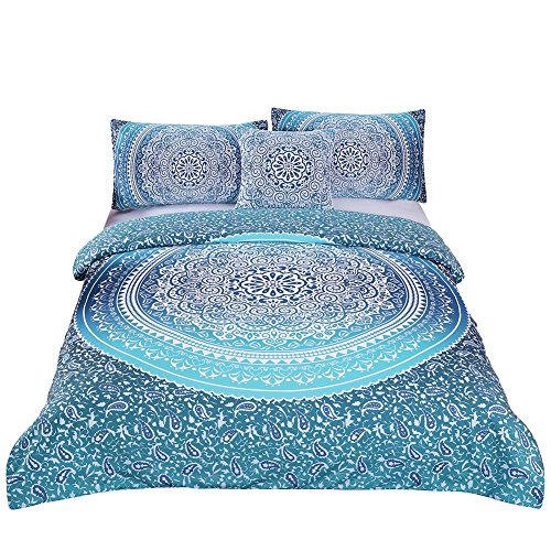 Sleepwish 4 Pcs Bohemian Luxury Boho Bedding Crystal Arrays Bedding Quilt Bedspread Mandala Hippie Duvet Cover Set Queen Size