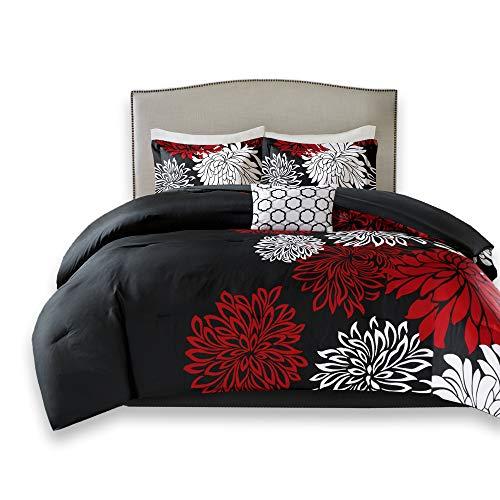 Comfort Spaces Enya 5 Piece Comforter Set Ultra Soft Hypoallergenic Microfiber Floral Print Bedding, Full/Queen, Black/Red
