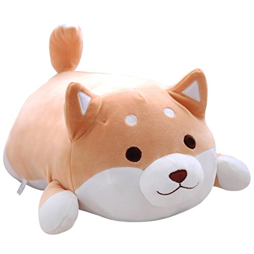 Shiba Inu Dog Plush Pillow, Cute Corgi Akita Stuffed Animals Doll Toy Gifts for Valentine's Gift, Christmas,Sofa Chair, brown round eye, 22.8″