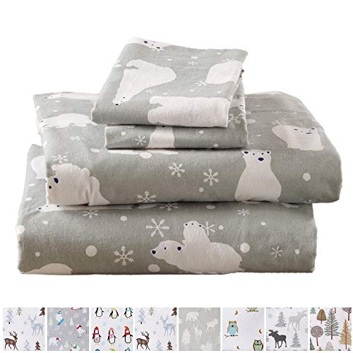 Home Fashion Designs Flannel Sheets Queen Winter Bed Sheets Flannel Sheet Set Grey Polar Bears Flannel Sheets 100% Turkish Cotton Flannel Sheet Set. Stratton Collection Queen, Grey Polar Bears