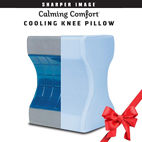 Calming Comfort Cooling Knee Pillow by Sharper Image- Charcoal Infused Memory Foam with Cooling Gel- Helps Side Sleepers Align Spine