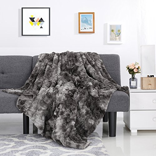 Decorative Throw for Couch Sofa Bed 50″ x 60″, Grey – LANGRIA Luxury Super Soft Faux Fur Fleece Throw Blanket Cozy Fluffy Warm Breathable Lightweight and Machine Washable Dyed Fabric for Winter