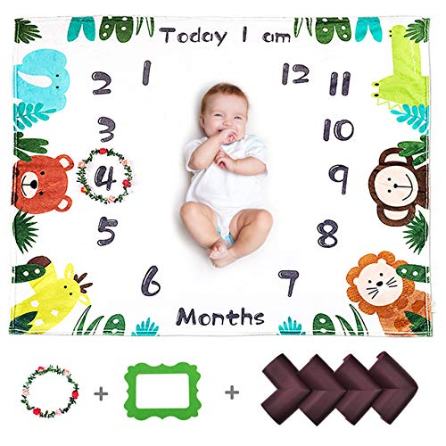 CALMSEN Baby Monthly Milestone Blanket for Boy Girl, Organic Fleece Ultra Soft, with Floral Wreath & Corner Guard, for Newborn, Photography Backdrop Prop, 1-12 Month