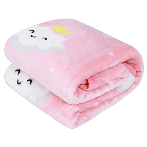 TILLYOU All Season Micro-Fleece Plush Baby Blanket for Toddler Bed or Crib, Ultra Soft Warm Winter Toddler Blanket for Daycare Nap or Preschool Sleep, Fuzzy Cozy and Fluffy, 39″x47″ Pink Cloud