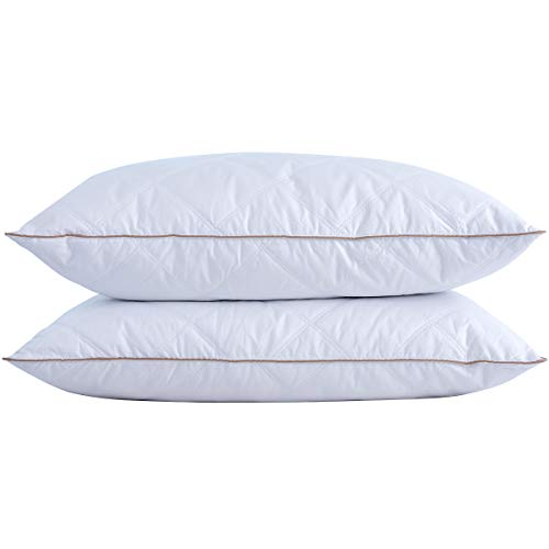 puredown® Natural Goose Down Feather Pillows for Sleeping Down Pillow 100% Cotton Pillow Cover Downproof Queen