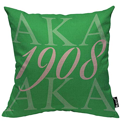 Mugod AKA 1908 Throw Pillow Also Known As Abbreviation Hip Hop Style Pink Green White Cotton Linen Square Cushion Cover Standard Pillowcase 18×18 Inch for Home Decorative Bedroom/Living Room/Car
