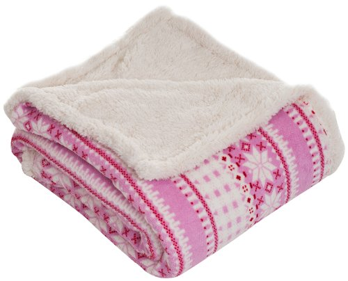 Lavish Home Throw Blanket, Fleece/Sherpa, Silver Stars
