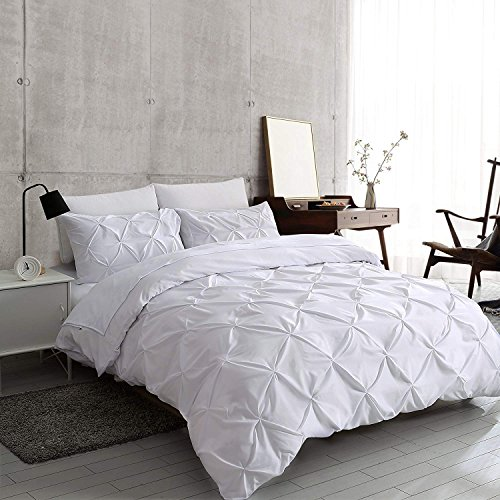 slashome King Duvet Cover, 3Pcs Pinch Pleat Luxurious Decorative Softest White Brushed Bedding Set with Zipper Closure and Corner Ties