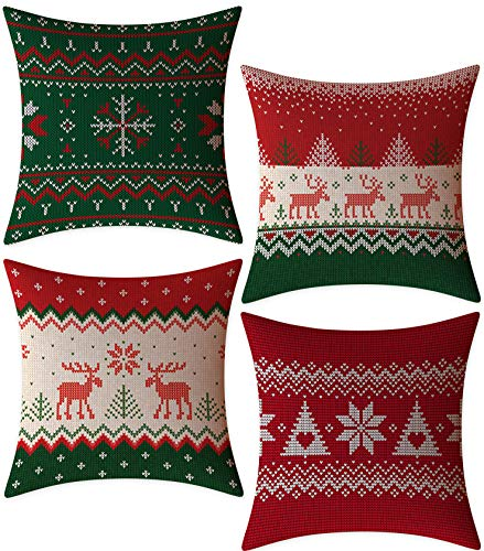 4PCS Zip Accent Pillow Cover 100% Quality Linen Fabric – FeelAtHome Throw Pillow Covers Cases 18 x 18 Inches Set of 4 Christmas Snow – Cozy Decorative Throw Pillow Cases for Home, Couch, Sofa, Bed