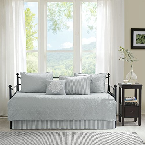 Madison Park Quebec Daybed Size Quilt Bedding Set – Grey, Damask – 6 Piece Bedding Quilt Coverlets – Ultra Soft Microfiber Bed Quilts Quilted Coverlet