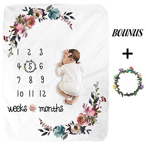 New Moms Set – Floral Plush Fleece Baby Photography Backdrop Memory Blanket for Newborns Large – Baby Monthly Milestone Blanket