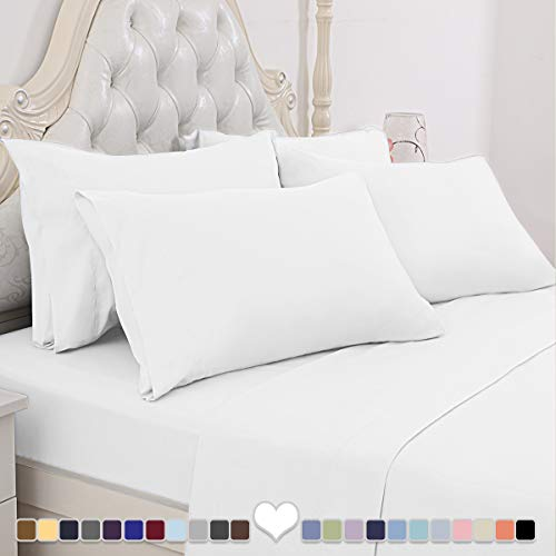 BYSURE 6 Piece Hotel Luxury Bed Sheets Set – Deep Pockets White King Sheets,Ultra Soft 1800 Thread Count,Double Brushed Microfiber,Wrinkle & Fade ResistantKing, White